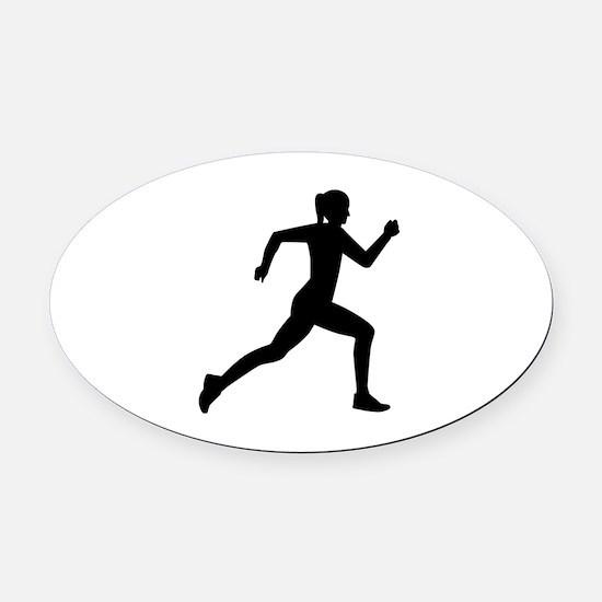 Running woman girl Oval Car Magnet