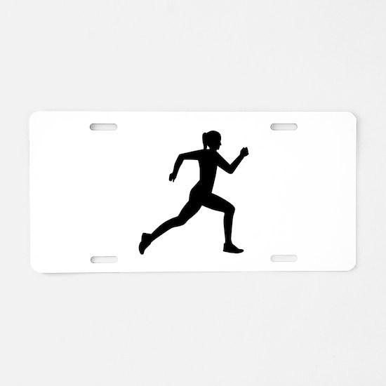 Running woman girl Aluminum License Plate