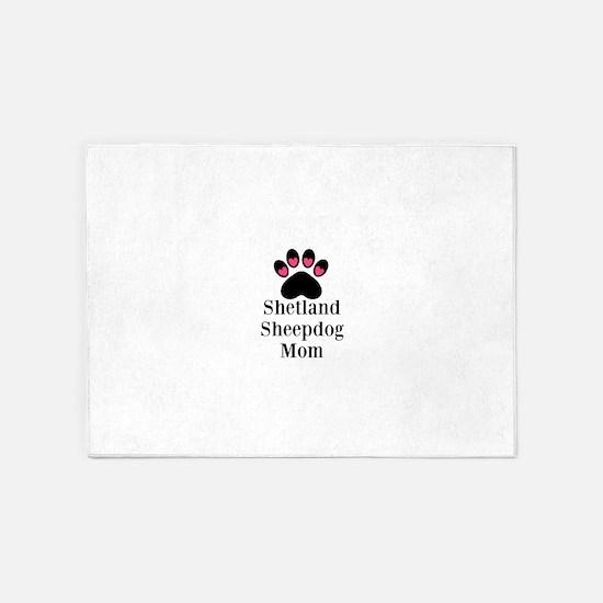 Shetland Sheepdog Mom 5'x7'Area Rug