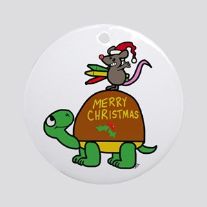 christmas turtle Round Ornament