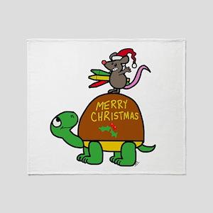 christmas turtle Throw Blanket