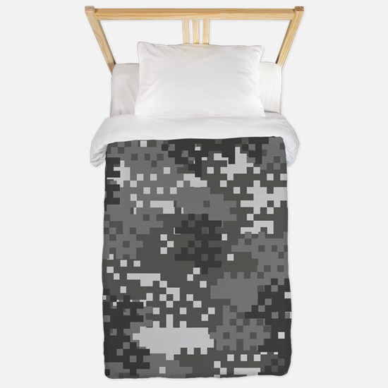 Pixel Grey and White Urban Camouflage Twin Duvet