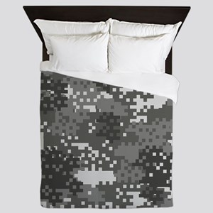 Pixel Grey and White Urban Camouflage Queen Duvet