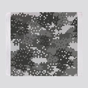 Pixel Grey and White Urban Camouflag Throw Blanket