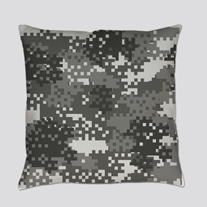 Pixel Grey and White Urban Camoufl Everyday Pillow