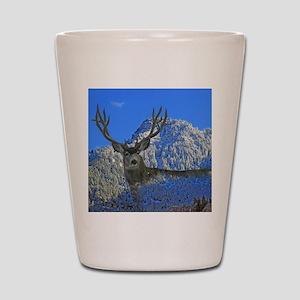 Mule deer frosty mountain Shot Glass