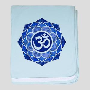 Lotus-OM-BLUE baby blanket