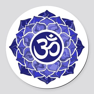 Lotus-OM-BLUE Round Car Magnet
