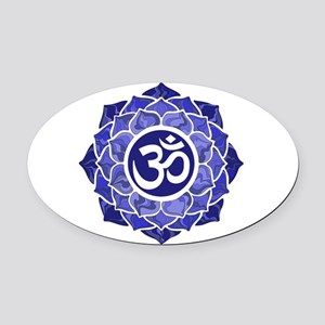 Lotus-OM-BLUE Oval Car Magnet