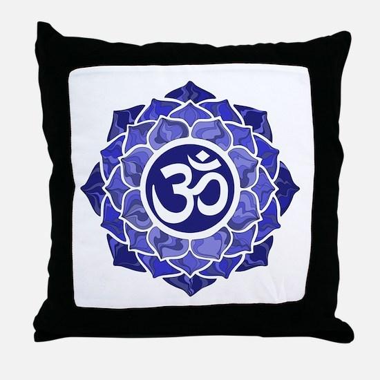 Lotus-OM-BLUE Throw Pillow