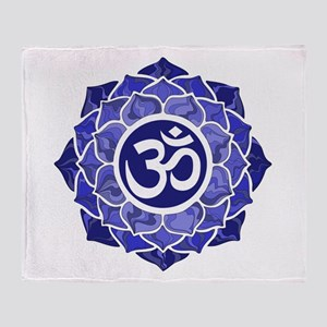 Lotus-OM-BLUE Throw Blanket