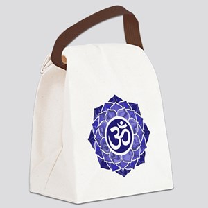 Lotus-OM-BLUE Canvas Lunch Bag