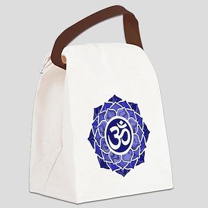 Lotus-OM-BLUE Canvas Lunch Bag