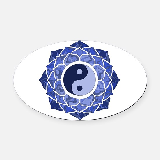 L-YY-Blu Oval Car Magnet