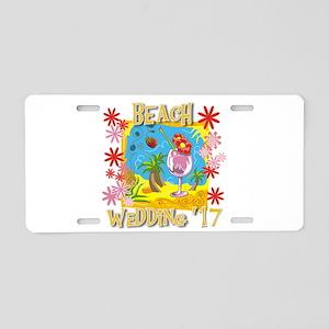 Beach Wedding 17 Aluminum License Plate