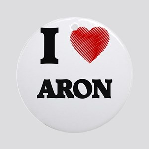 I love Aron Round Ornament