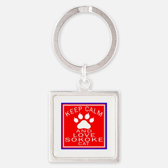 Keep Calm And Sokoke Cat Square Keychain