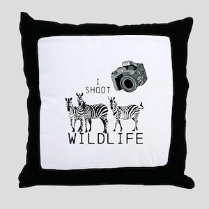 I Shoot Wildlife Throw Pillow