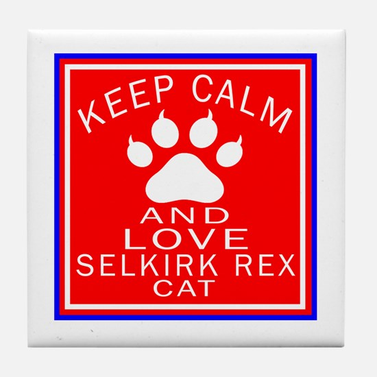 Keep Calm And Selkirk Rex Cat Tile Coaster