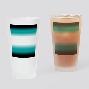 Teal White Black Ombre Drinking Glass