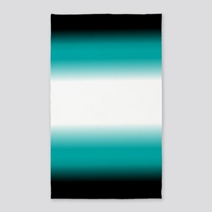 Teal White Black Ombre Area Rug