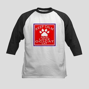 Keep Calm And Ocicat Cat Kids Baseball Jersey