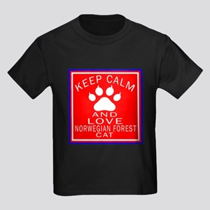 Keep Calm And Norwegian Forest C Kids Dark T-Shirt