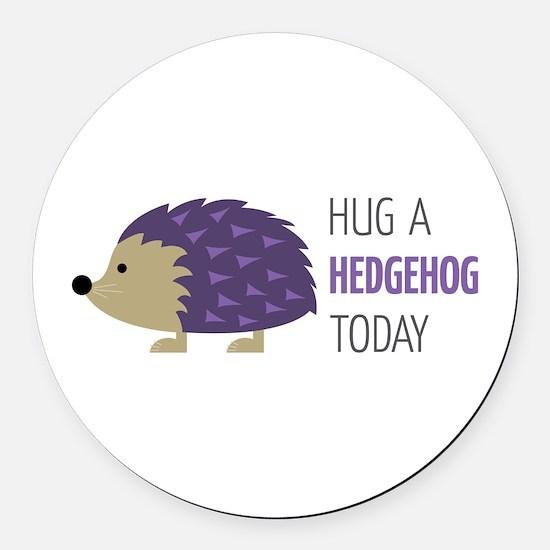 Hug A Hedgehog Round Car Magnet