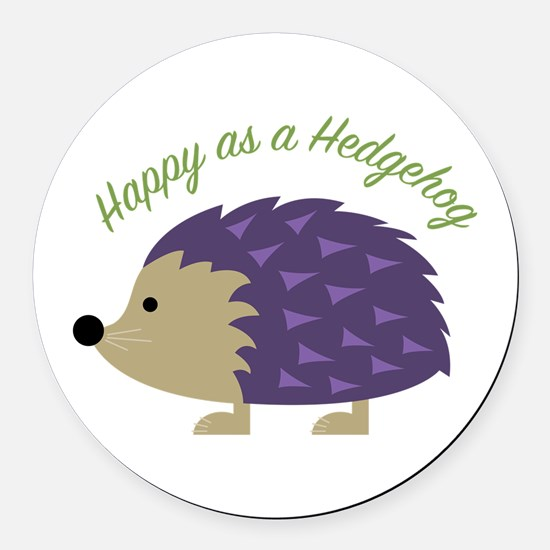Happy As Hedgehog Round Car Magnet