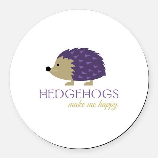 Happy Hedgehogs Round Car Magnet