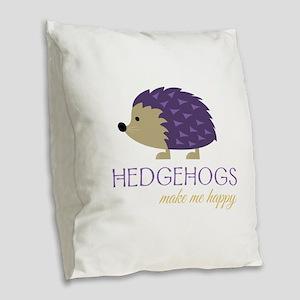 Happy Hedgehogs Burlap Throw Pillow