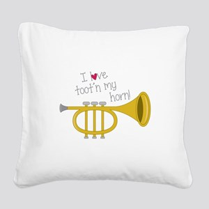 Tootn My Horn Square Canvas Pillow