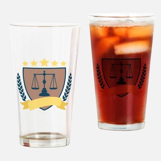 Criminal Justice Emblem Drinking Glass
