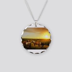 Ponies in a Pasture Necklace Circle Charm