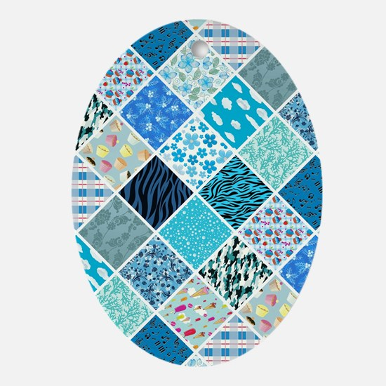 BLUE CRAZY QUILT Oval Ornament