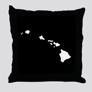 hawaii white black Throw Pillow