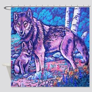 Blue Wolf Wolves & Pup Shower Curtain