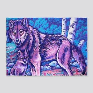 Blue Wolf Wolves & Pup 5'x7'Area Rug