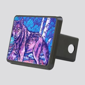 Blue Wolf Wolves & Pup Rectangular Hitch Cover