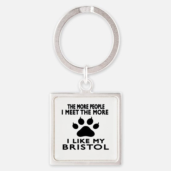 I Like My Bristol Cat Square Keychain