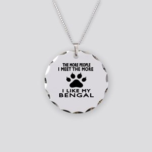I Like My Bengal Cat Necklace Circle Charm