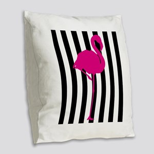 Hot Pink Flamingo on Black and White Stripe Burlap