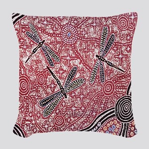 Dragonfly Dreaming Red Woven Throw Pillow