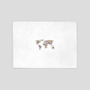 Circle Chromatic Rainbow World Map 5'x7'Area Rug
