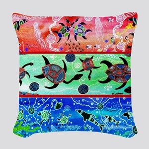 Rainbow Dolphins & Turtles Woven Throw Pillow
