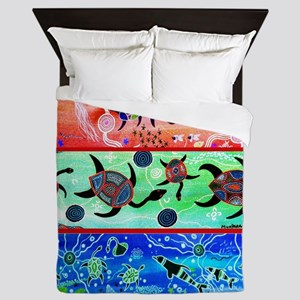 Rainbow Dolphins & Turtles Queen Duvet