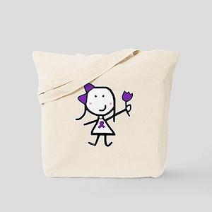 Girl & Purple Ribbon Tote Bag