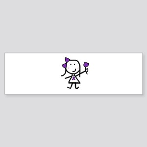 Girl & Purple Ribbon Bumper Sticker