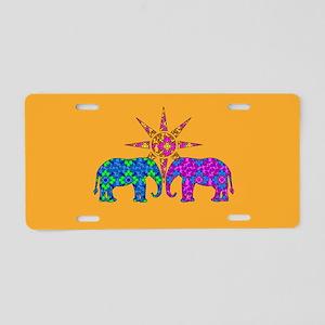 Orange Elephant Love Aluminum License Plate