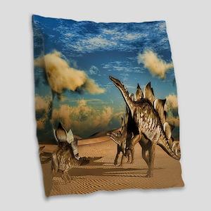 Stegosaurus dinosaur in the desert Burlap Throw Pi